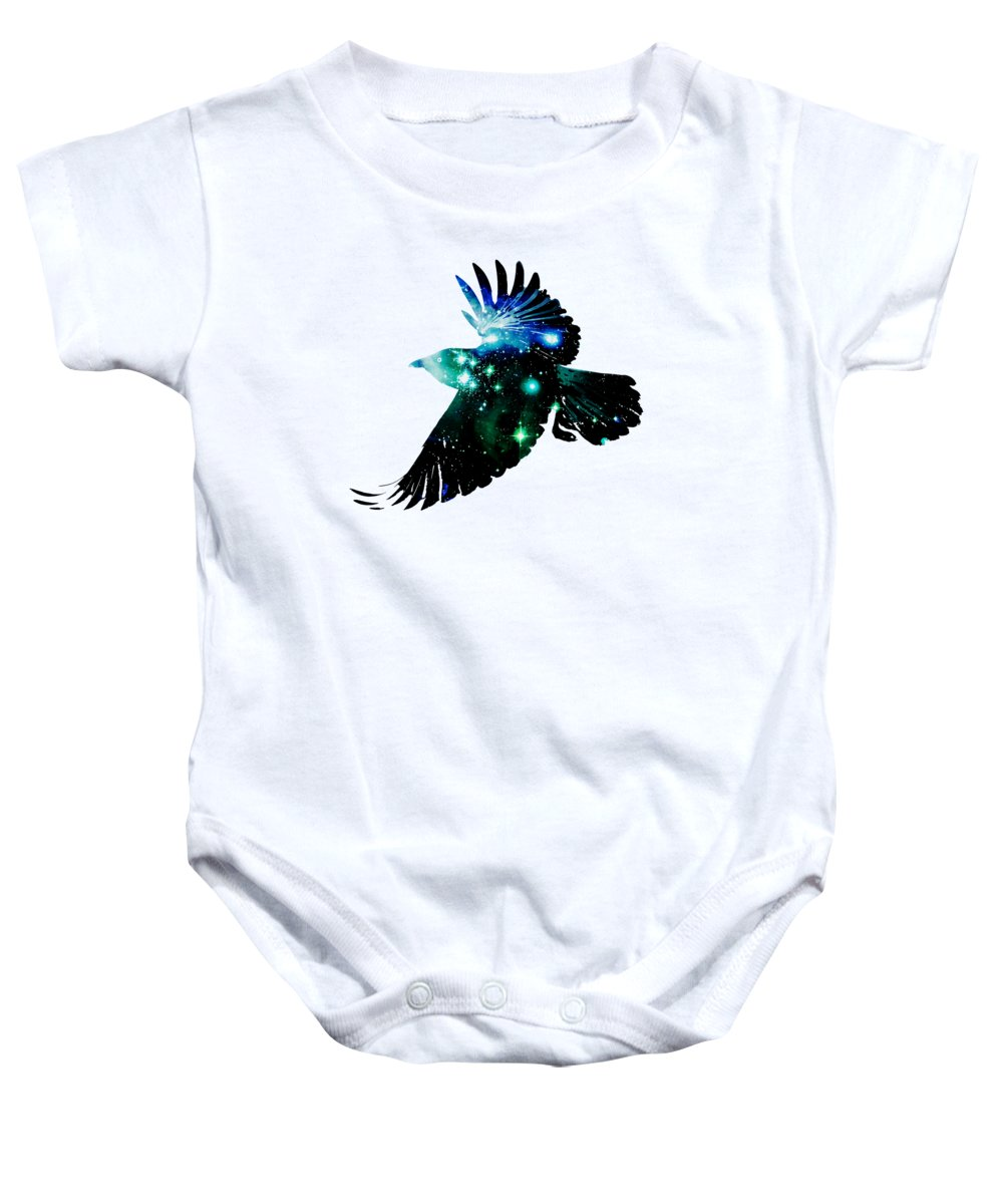 Malakhova Baby Onesie featuring the digital art Raven by Anastasiya Malakhova