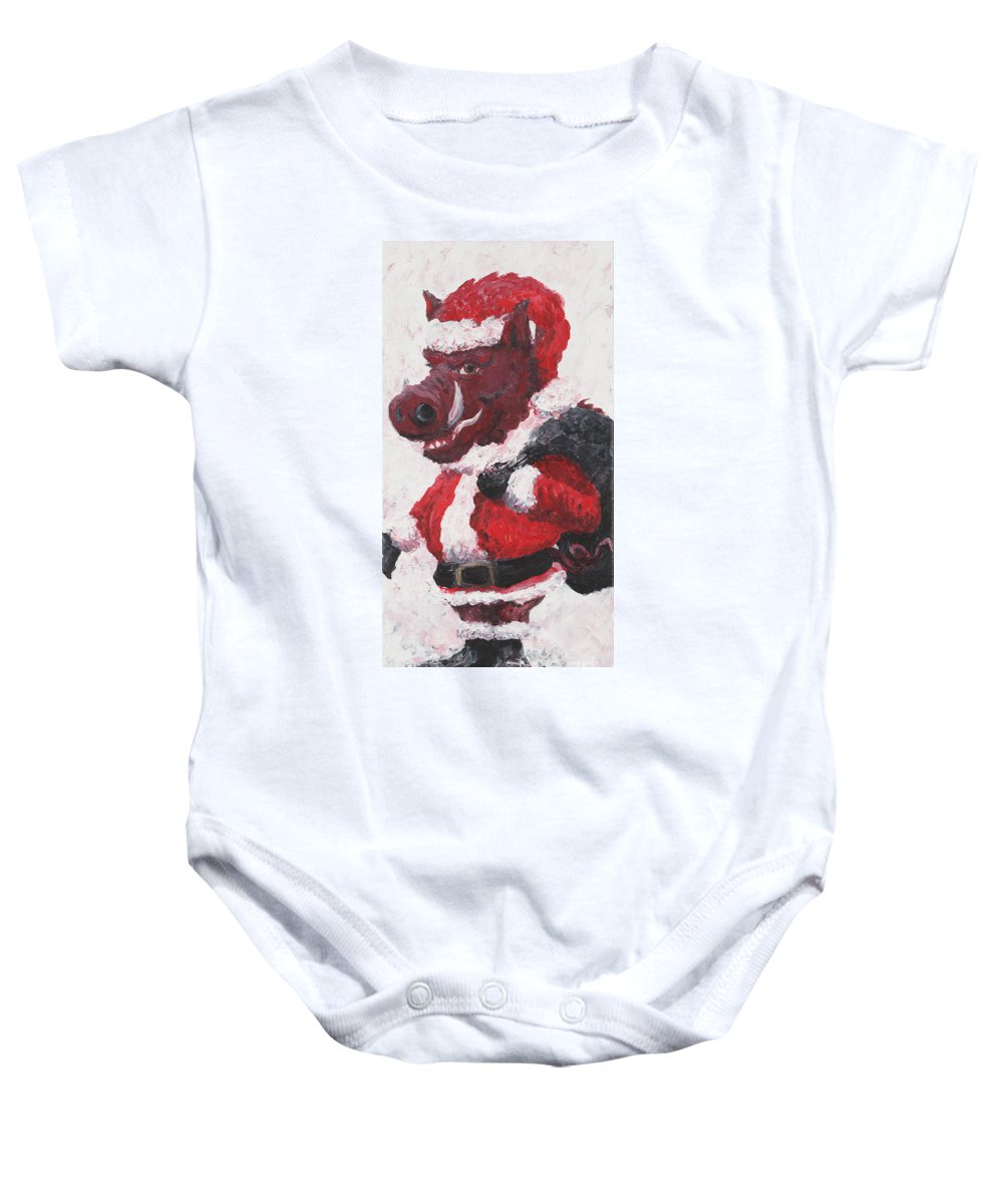Santa Baby Onesie featuring the painting Razorback Santa by Nadine Rippelmeyer