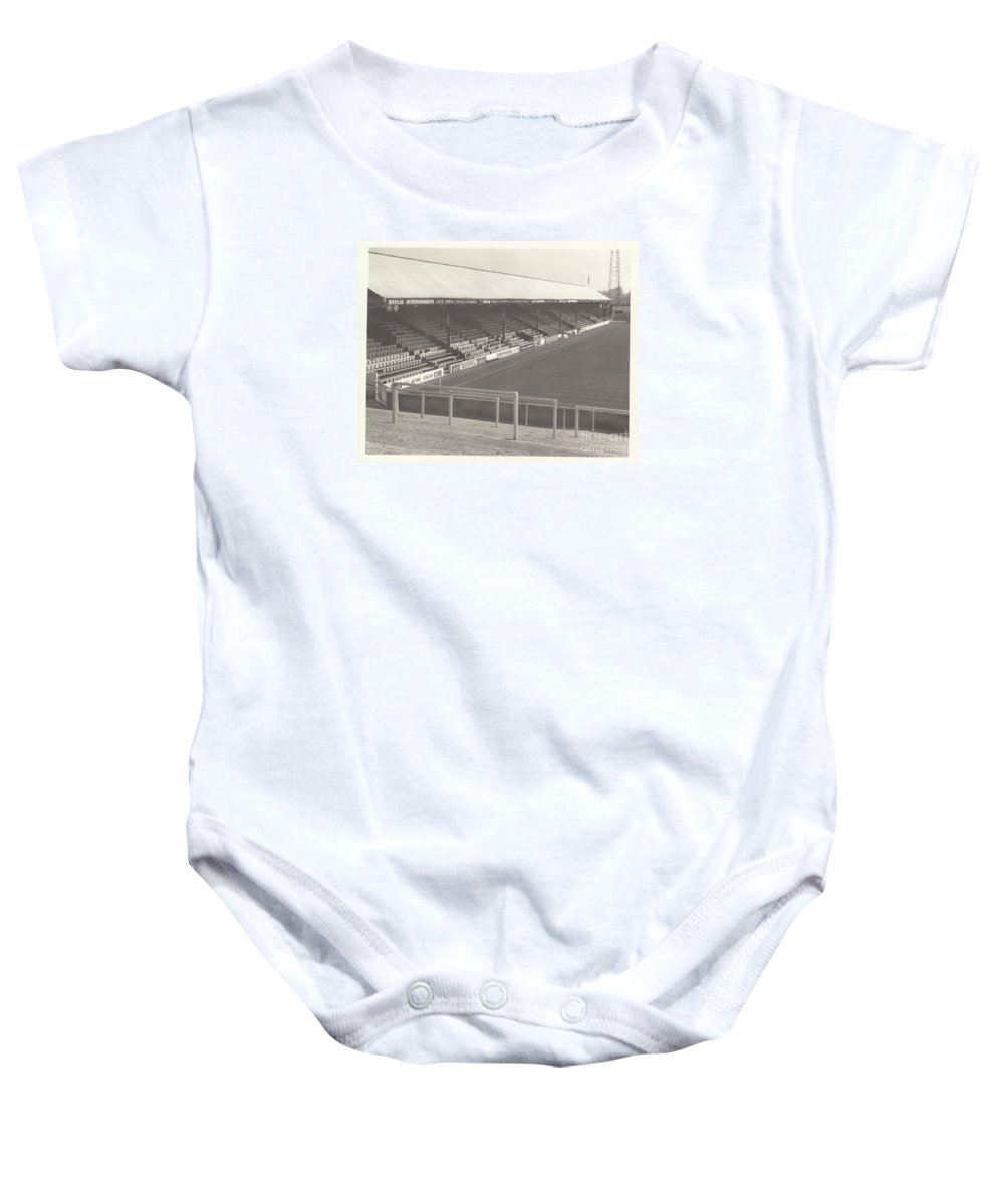 Baby Onesie featuring the photograph Reading - Elm Park - Norfolk Road Stand 3 - Bw - 1970 by Legendary Football Grounds