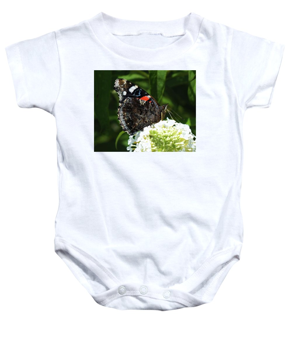 Red Admiral Photo Baby Onesie featuring the photograph Red Admiral - Underside by Cindy Treger