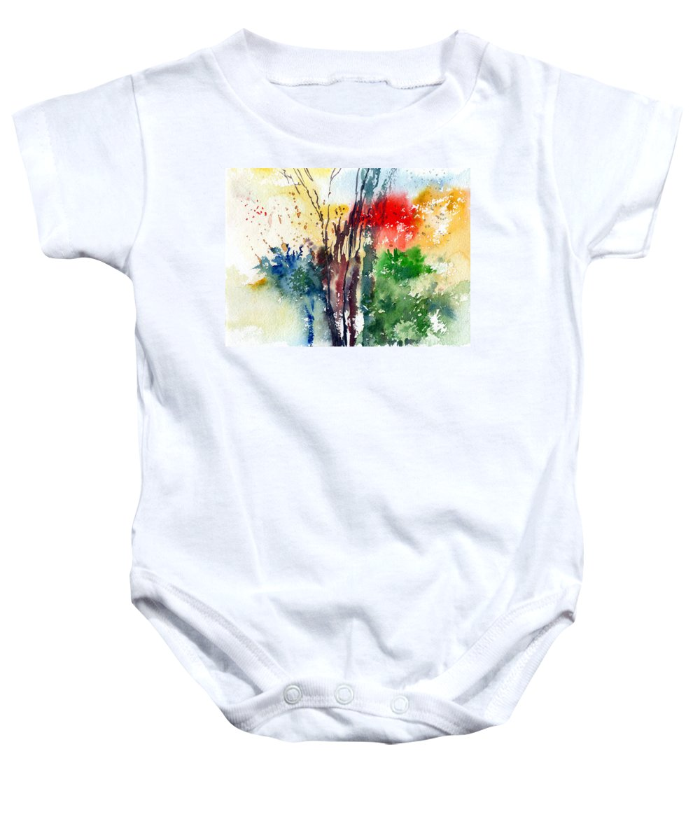 Watercolor Baby Onesie featuring the painting Red And Green by Anil Nene
