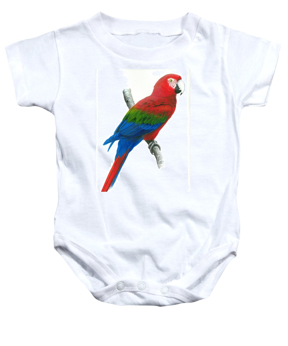 Chris Cox Baby Onesie featuring the painting Red And Green Macaw by Christopher Cox