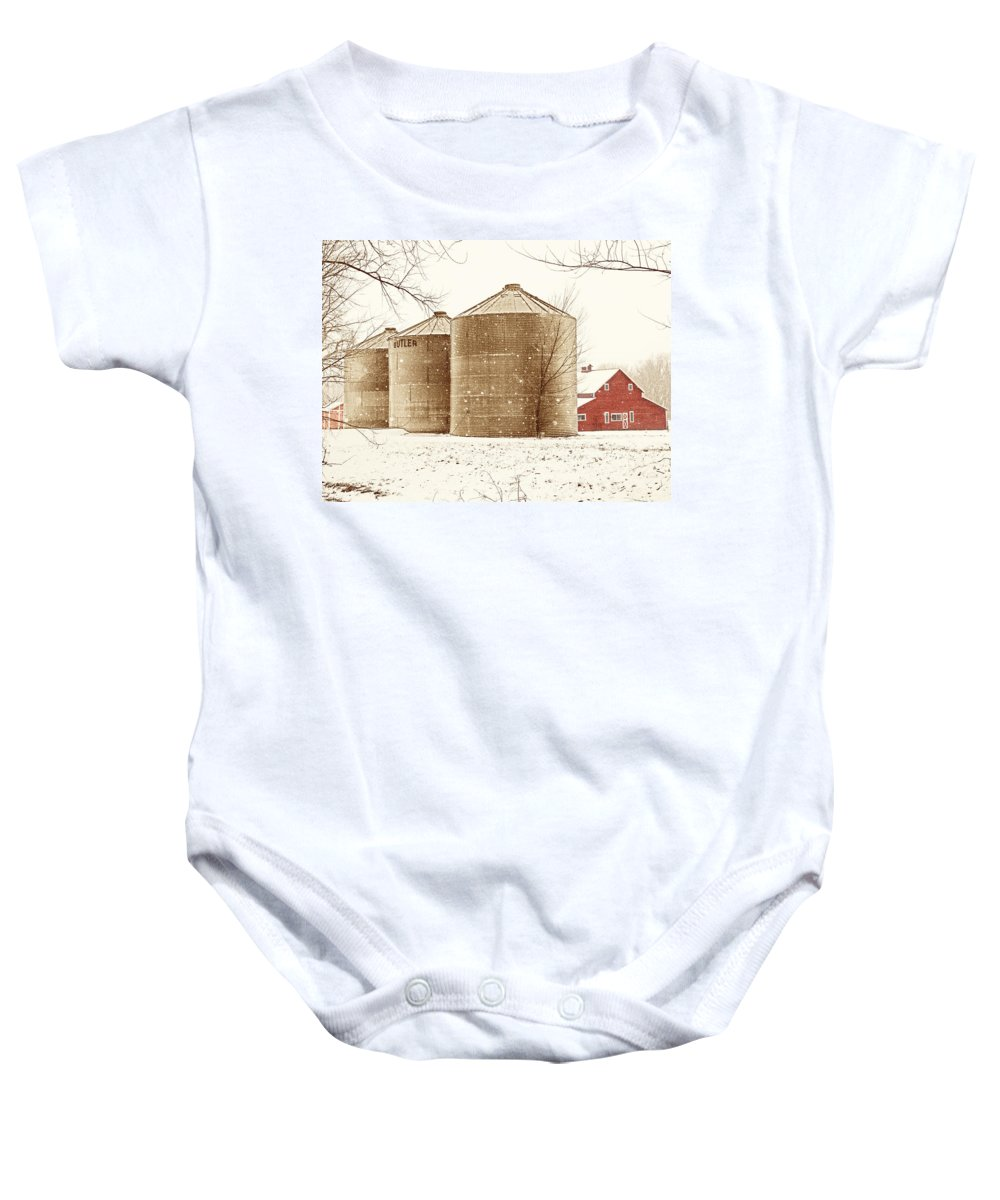 Americana Baby Onesie featuring the photograph Red Barn In Snow by Marilyn Hunt