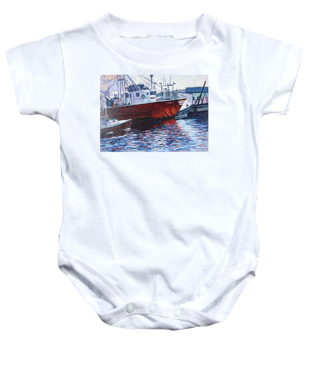 Boats Baby Onesie featuring the painting Red Boats by Richard Nowak