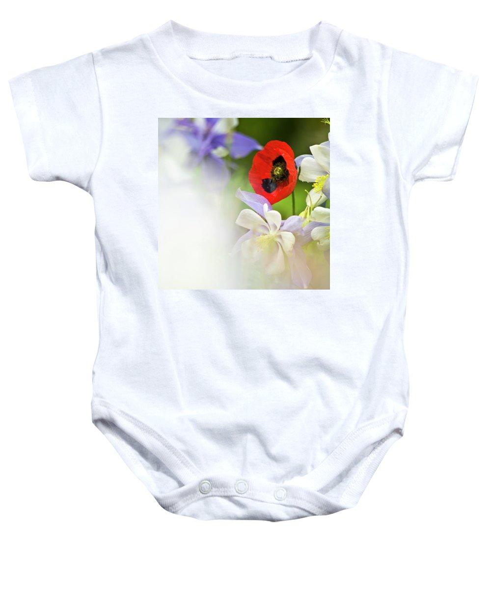 Poppy Baby Onesie featuring the photograph Red Corn Poppy by Heiko Koehrer-Wagner