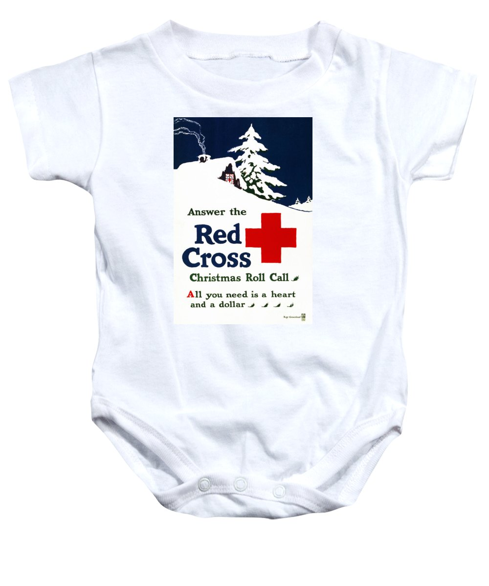 1915 Baby Onesie featuring the photograph Red Cross Poster, C1915 by Granger