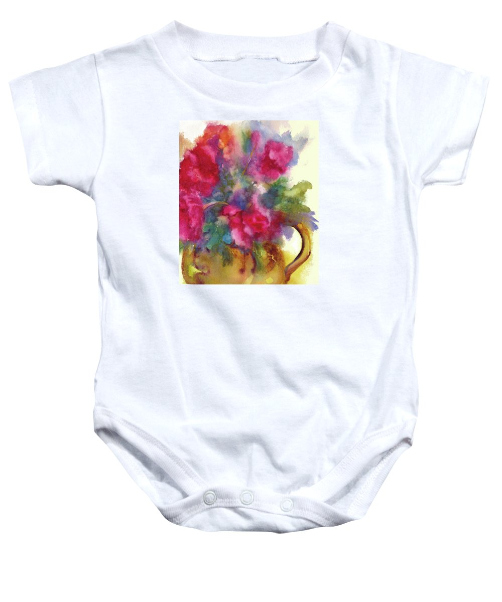 Flowers Baby Onesie featuring the painting Red Flowers In Gold Vase by Peggy Wilson