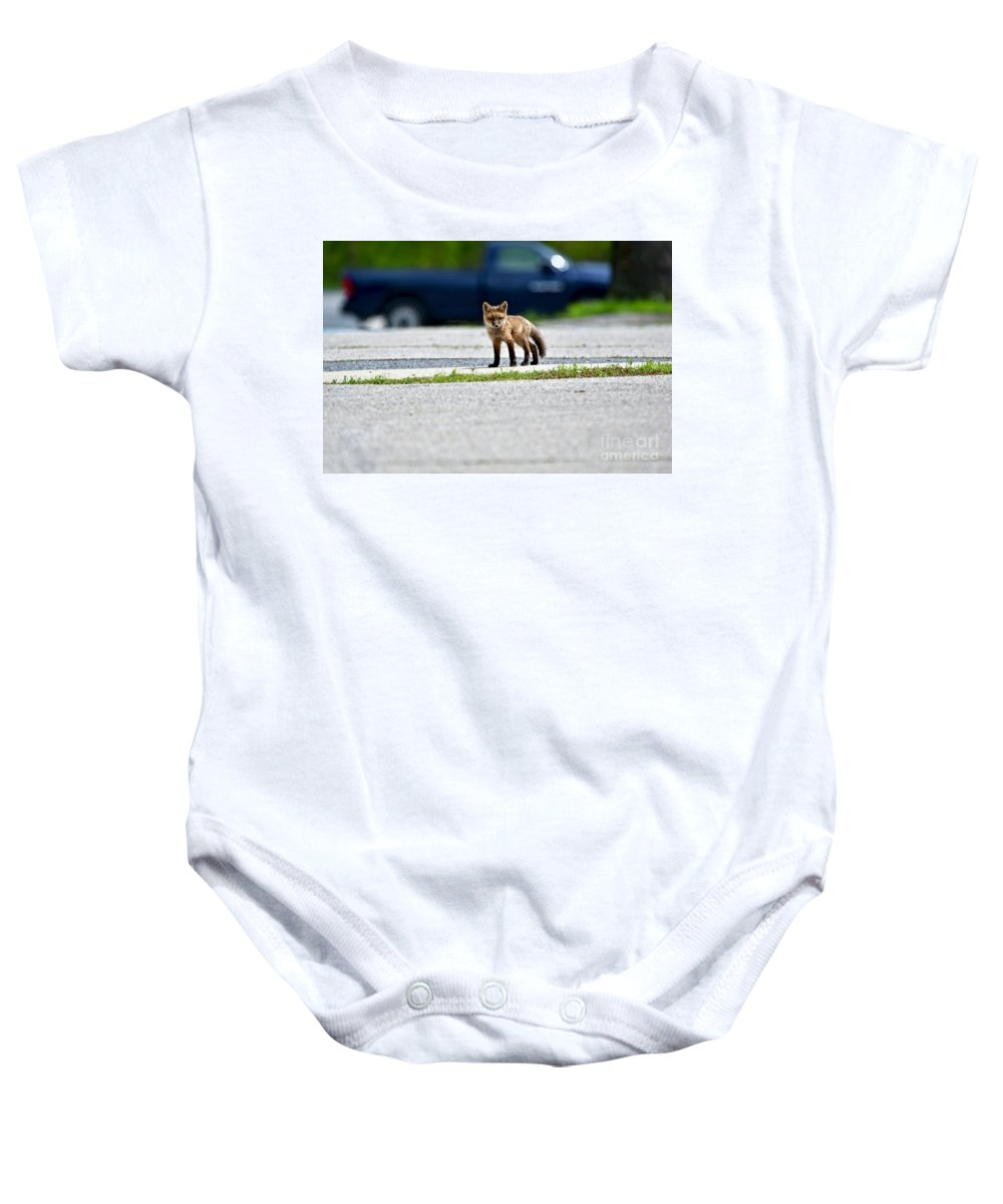 Animal Baby Onesie featuring the photograph Red Fox Kit Standing On Old Road by Jeramey Lende