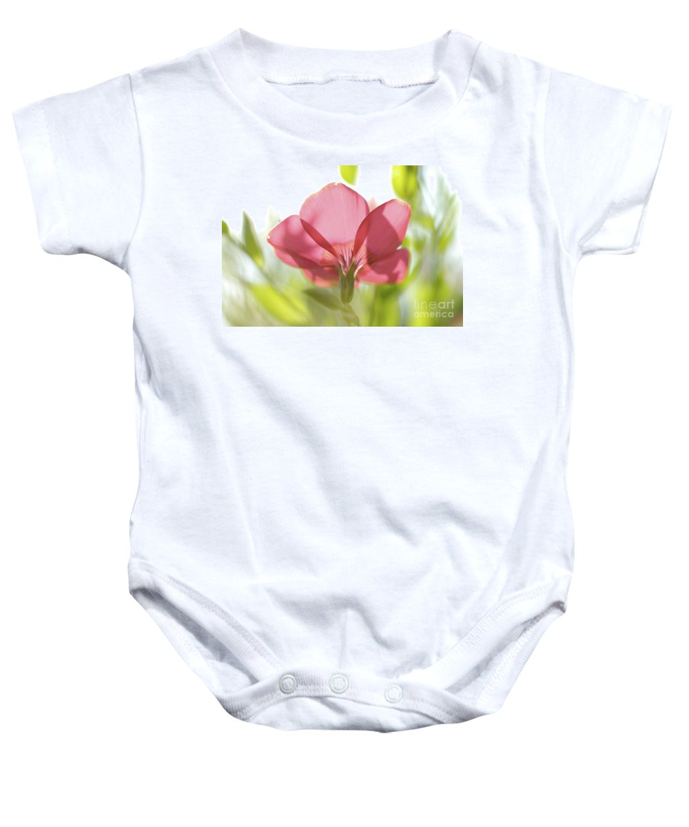 Red Baby Onesie featuring the photograph Red Garden Poppy by PhotoStock-Israel