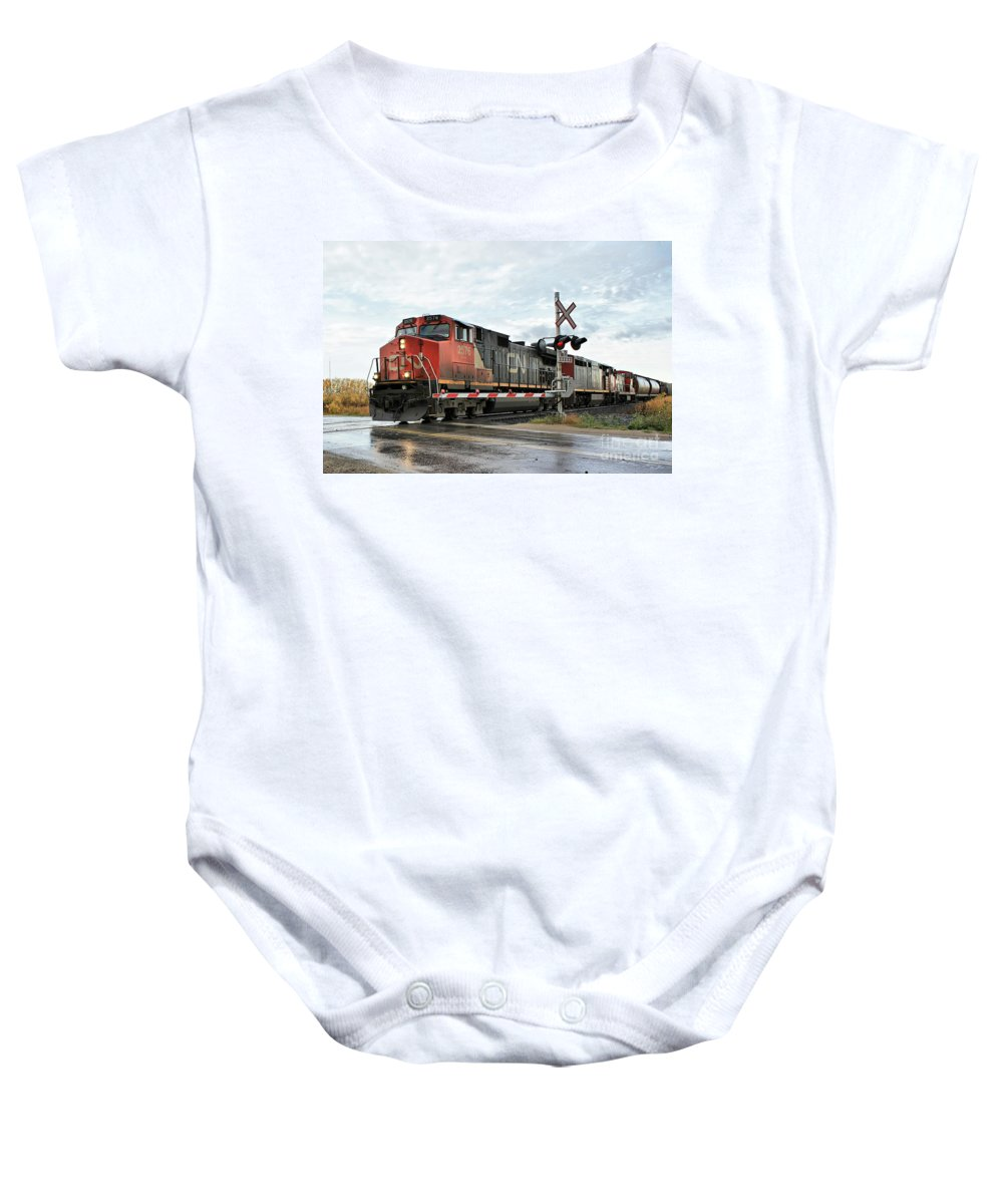 Train Baby Onesie featuring the photograph Red Locomotive by Teresa Zieba