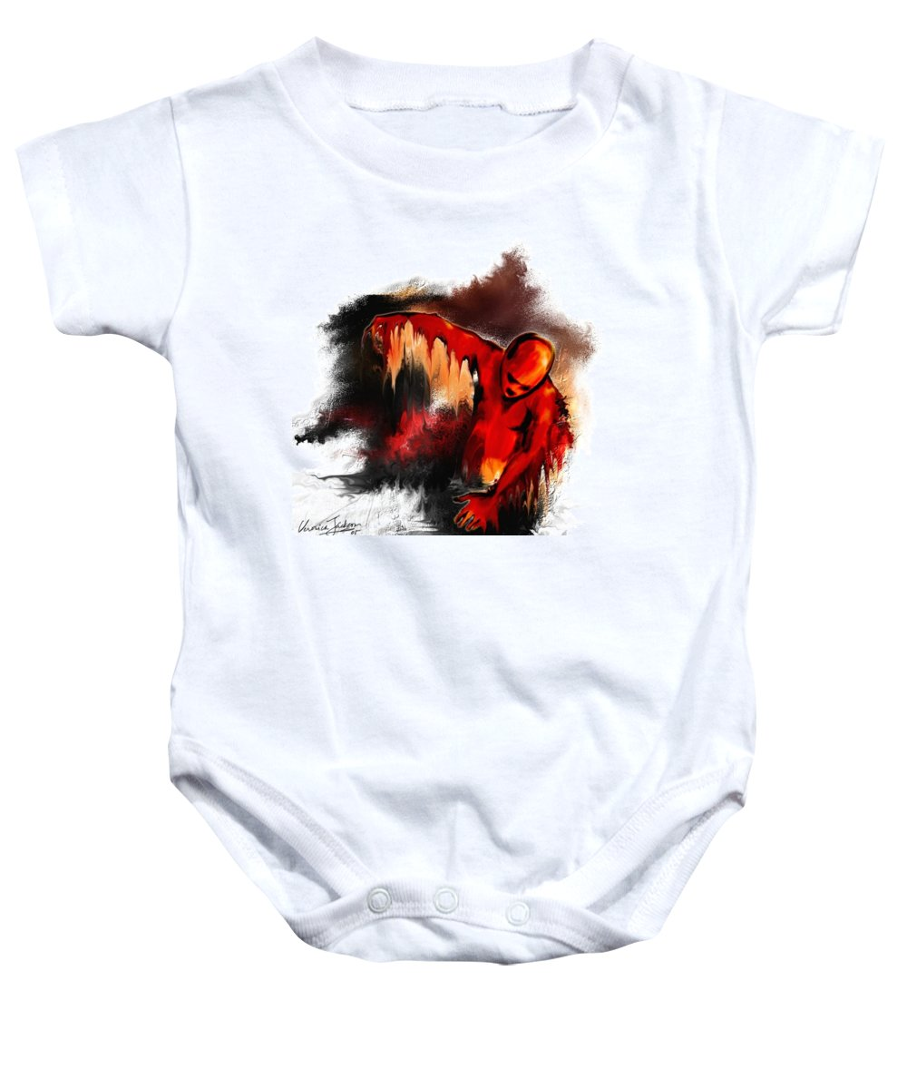 Red Man Passion Sureall Fire Baby Onesie featuring the digital art Red Man by Veronica Jackson