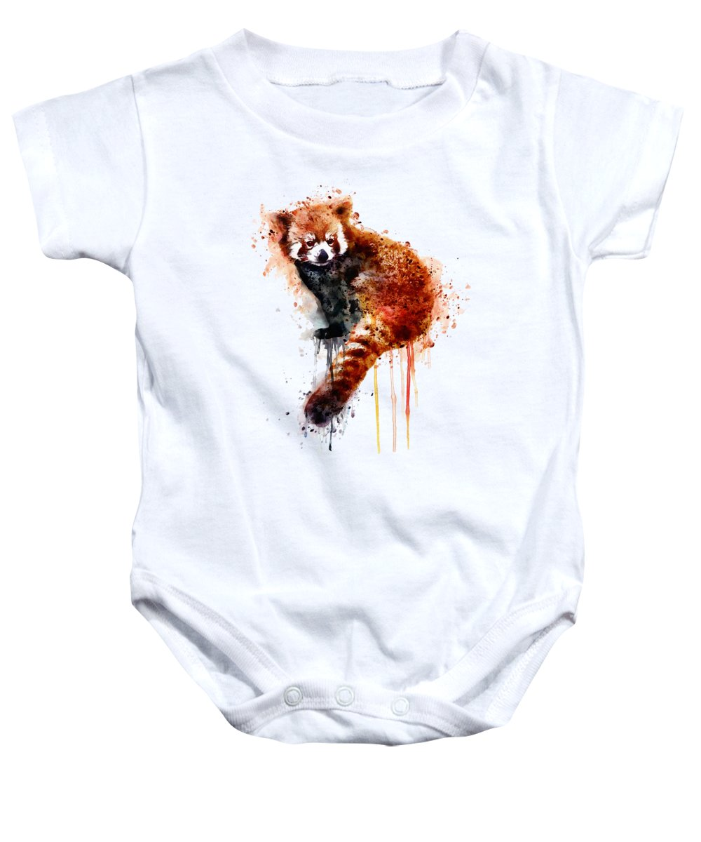 Red Panda Baby Onesie featuring the painting Red Panda by Marian Voicu
