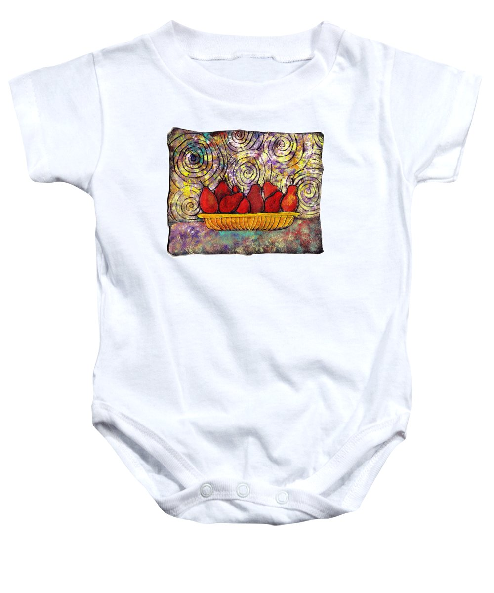 Spirals Baby Onesie featuring the painting Red Pears In A Bowl by Wayne Potrafka