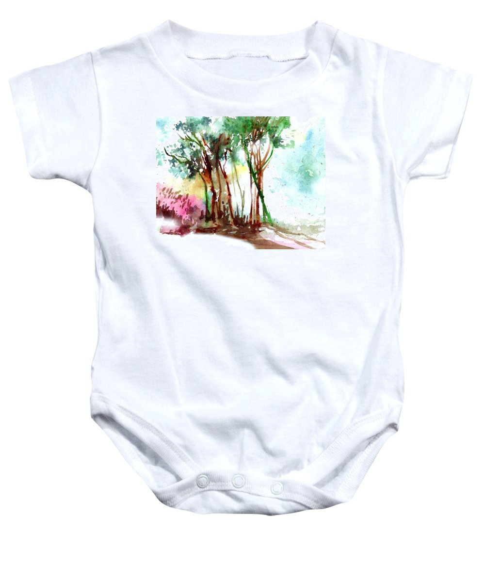 Landscape Baby Onesie featuring the painting Red Trees by Anil Nene