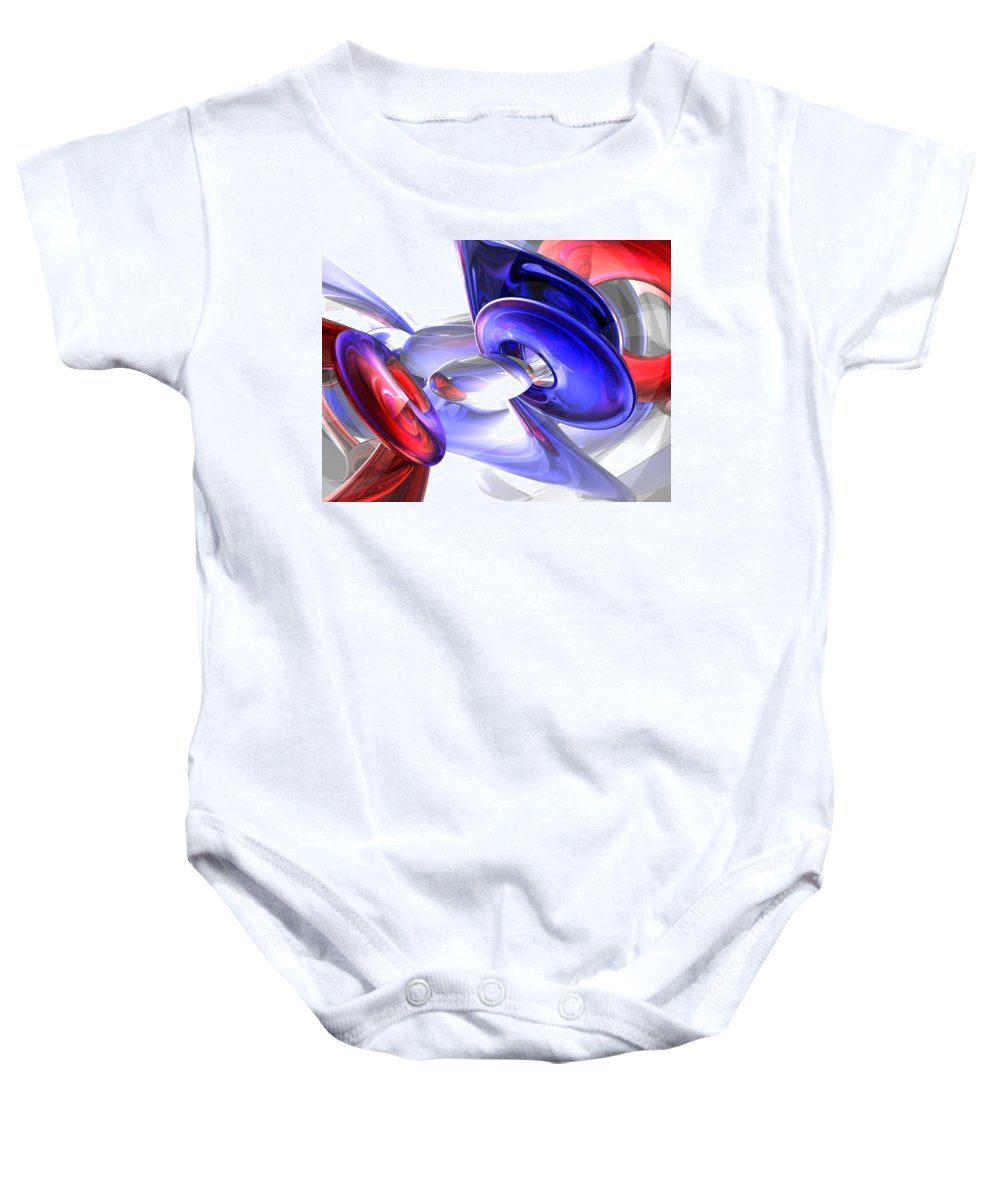 3d Baby Onesie featuring the digital art Red White And Blue Abstract by Alexander Butler