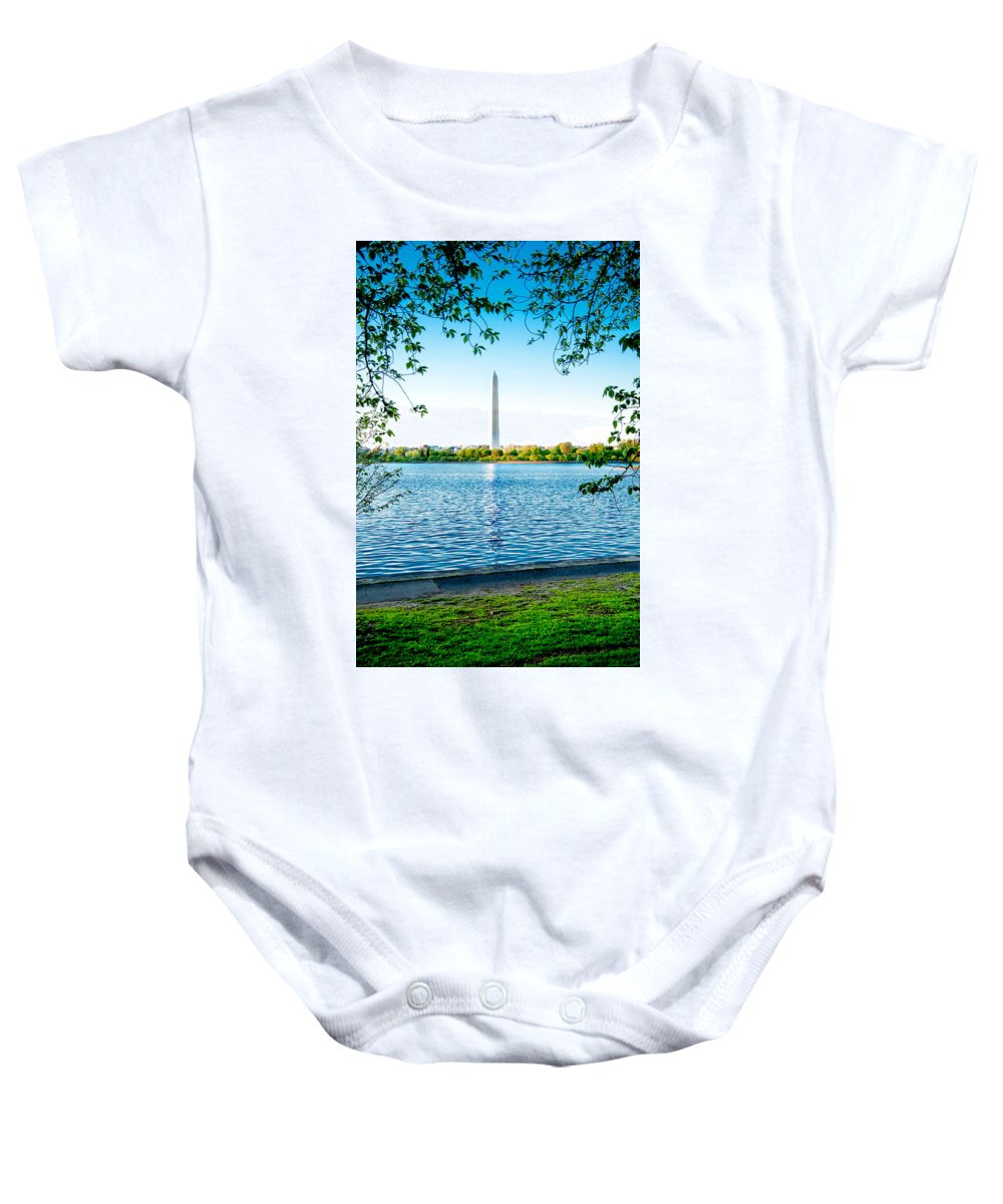 Art Baby Onesie featuring the photograph Reflection Of Washington by Greg Fortier
