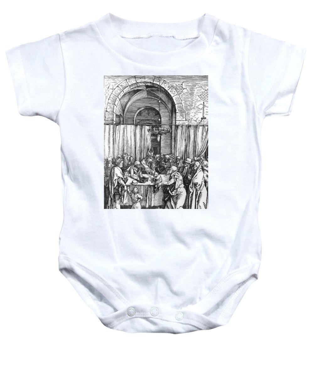 Refusal Baby Onesie featuring the painting Refusal Of Joachim Offer 1503 by Durer Albrecht