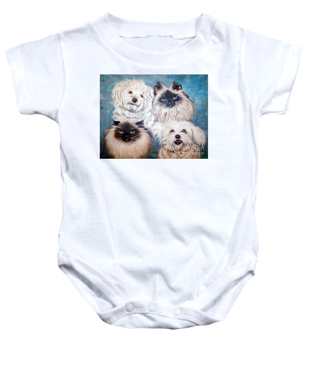 Cats Baby Onesie featuring the painting Reigning Cats N Dogs by Nancy Cupp