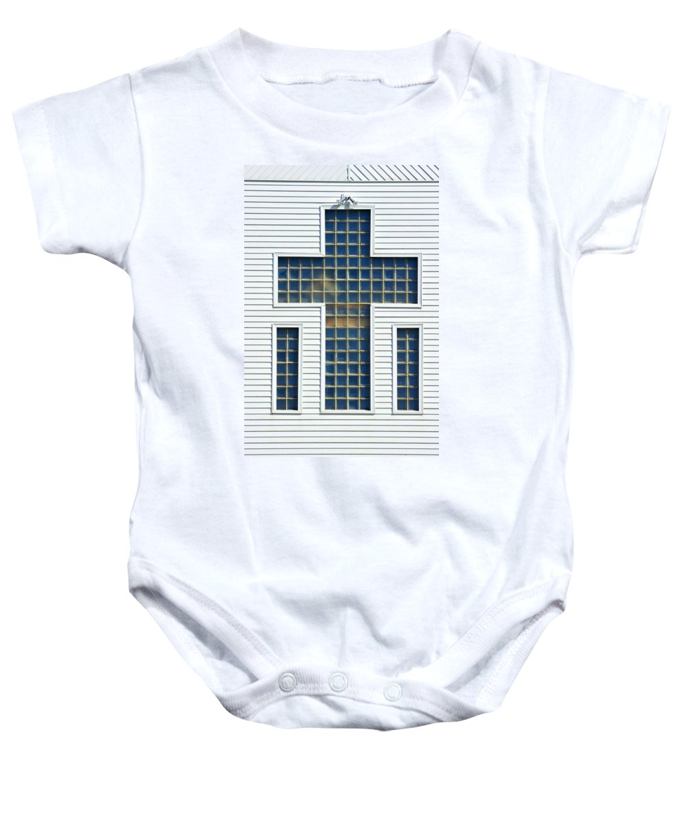 Cross Baby Onesie featuring the photograph Religion Window Cross by Donald Erickson