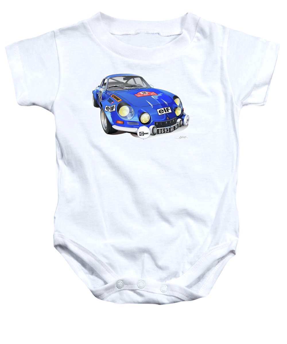 Transportation Baby Onesie featuring the drawing Alpine Renault A110 by Alain Jamar