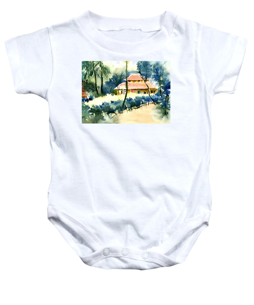 Landscape Baby Onesie featuring the painting Rest House by Anil Nene