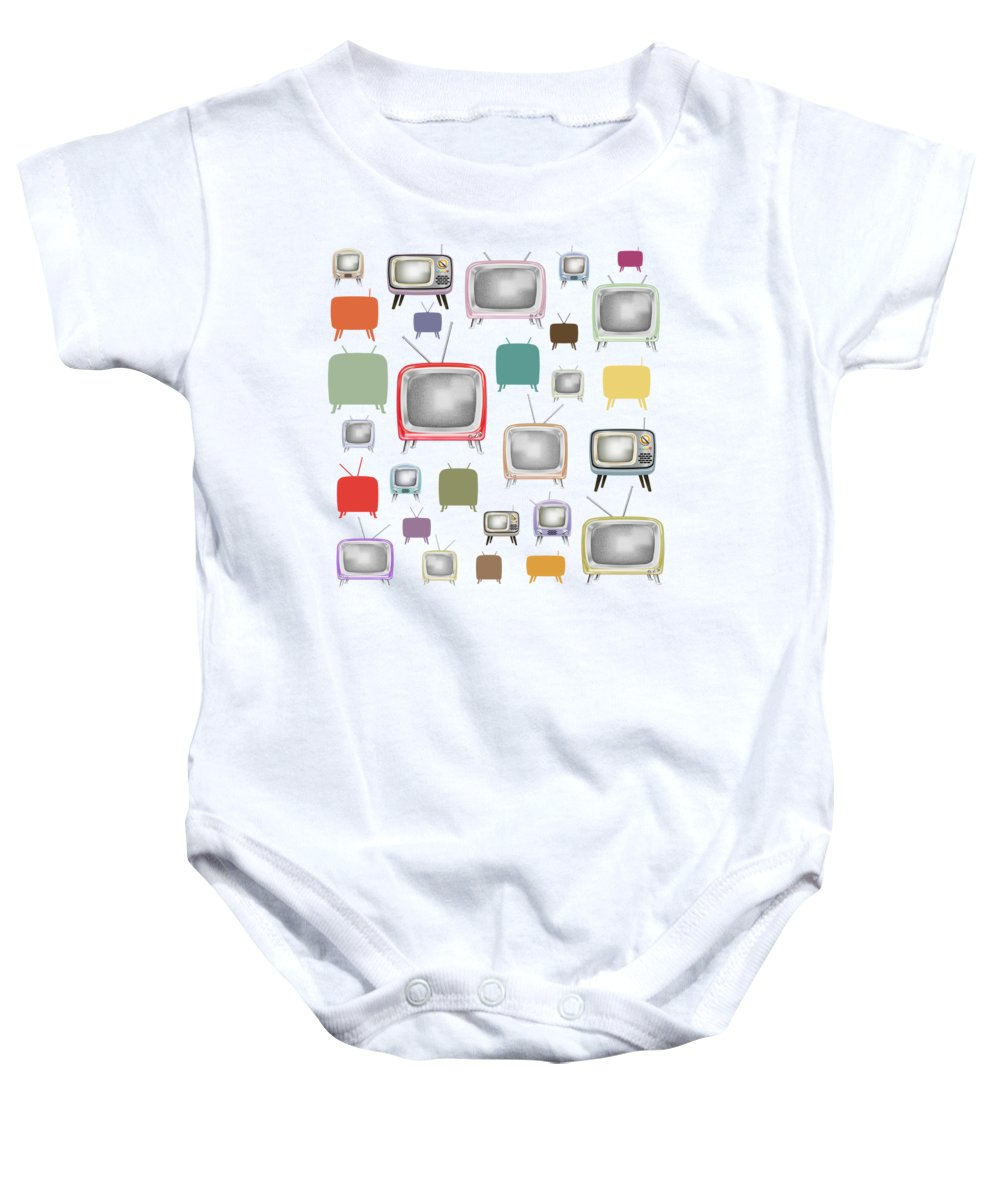 Analog Baby Onesie featuring the painting Retro T.v. by Setsiri Silapasuwanchai