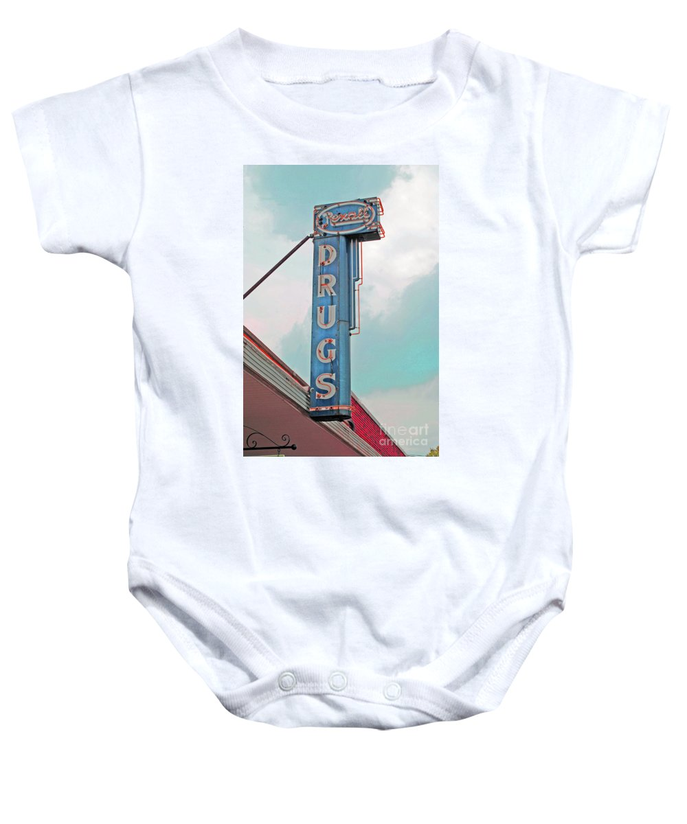 Rexall Baby Onesie featuring the photograph Rexall Drugs by Jost Houk