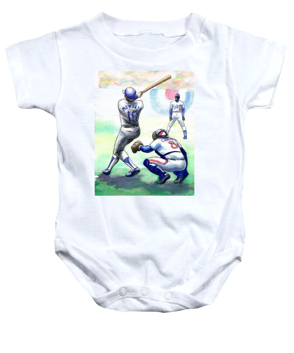 Nostalgia Baby Onesie featuring the drawing Rick Monday by Mel Thompson