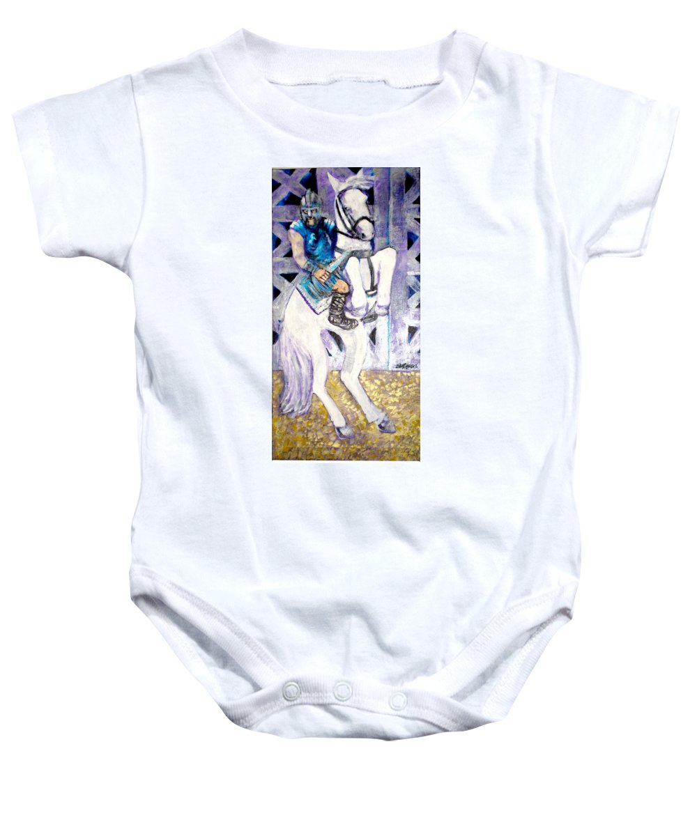Horse Baby Onesie featuring the painting Ride of the Gladiator by Seth Weaver