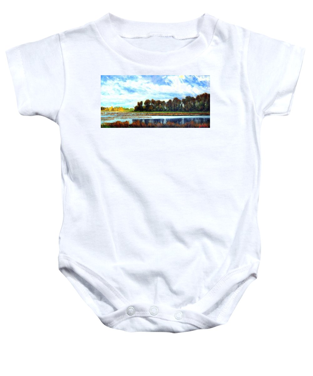 Landscapes Baby Onesie featuring the painting Ridgefield Refuge Early Fall by Jim Gola