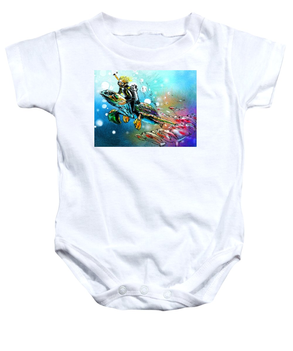Turtle Painting Baby Onesie featuring the painting Riding A Turtle by Miki De Goodaboom