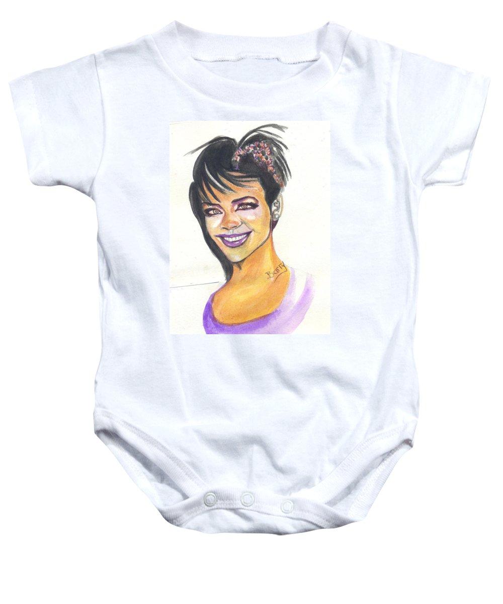 Music Baby Onesie featuring the painting Rihanna by Emmanuel Baliyanga