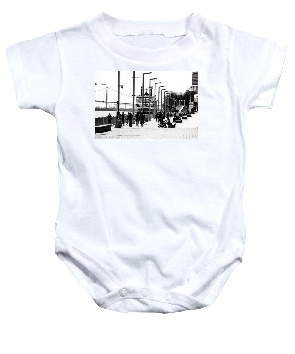 Detroit Michigan Black And White Riverwalk Princess Baby Onesie featuring the photograph Riverwalk by Terry Cross