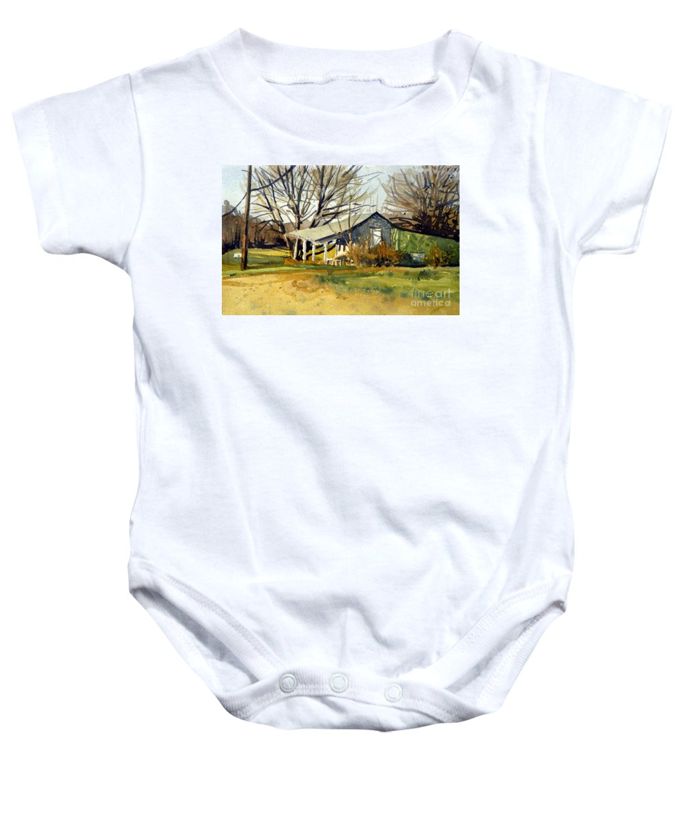 Fruit Stand Baby Onesie featuring the painting Roadside Stand by Donald Maier