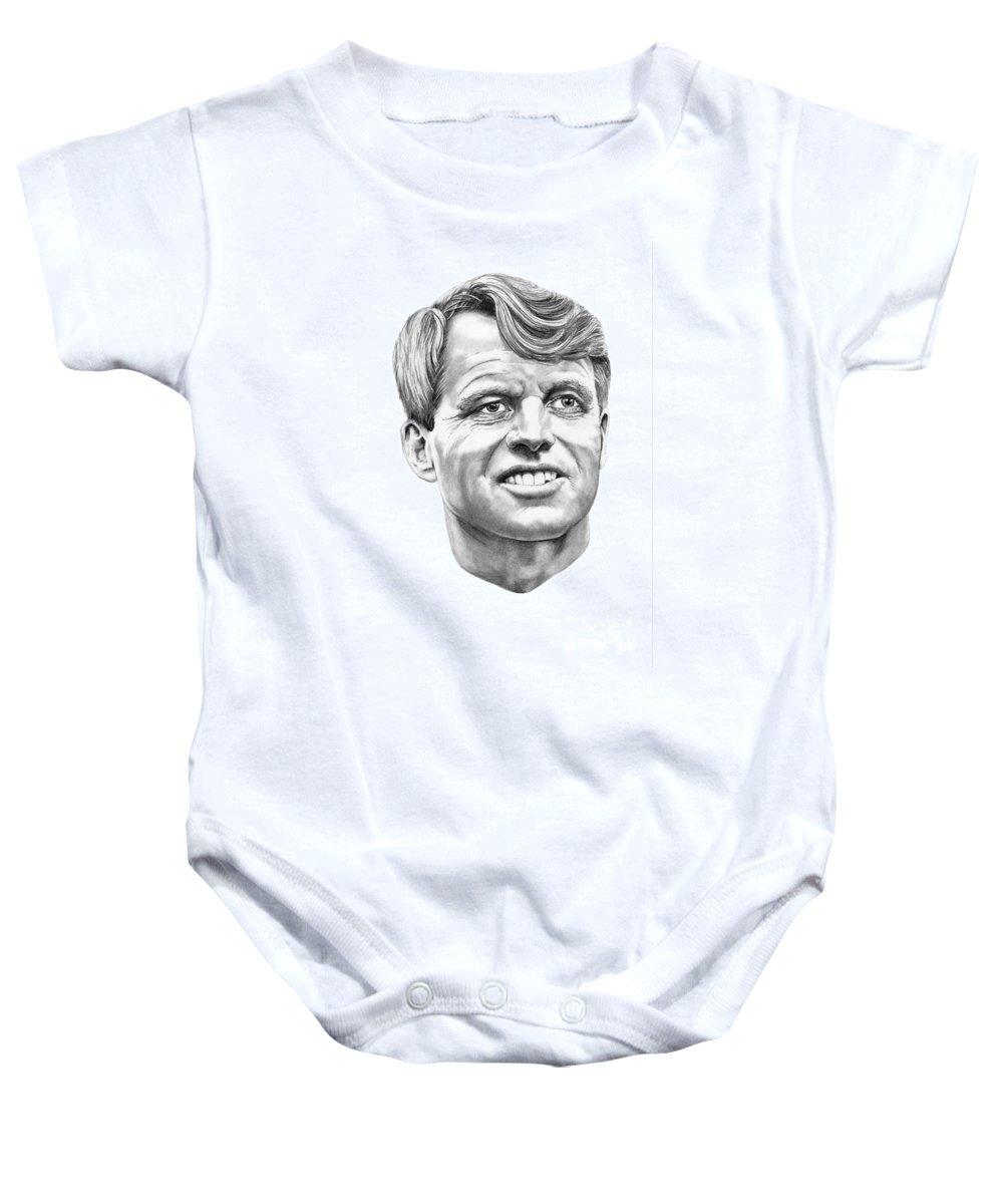 Robert Kennedy Baby Onesie featuring the drawing Robert Kennedy by Murphy Elliott