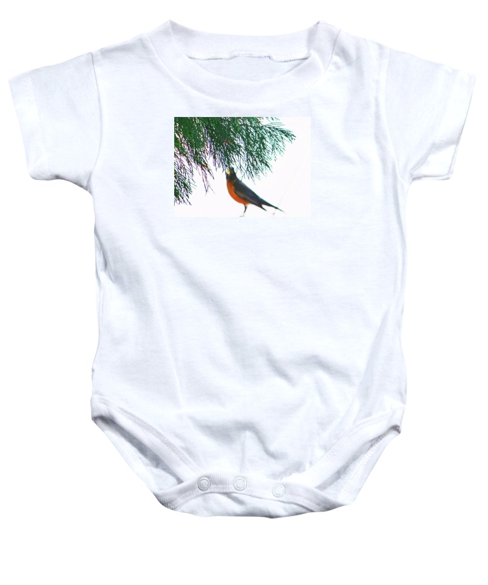 Abstract Baby Onesie featuring the photograph Robin 2 by Lenore Senior
