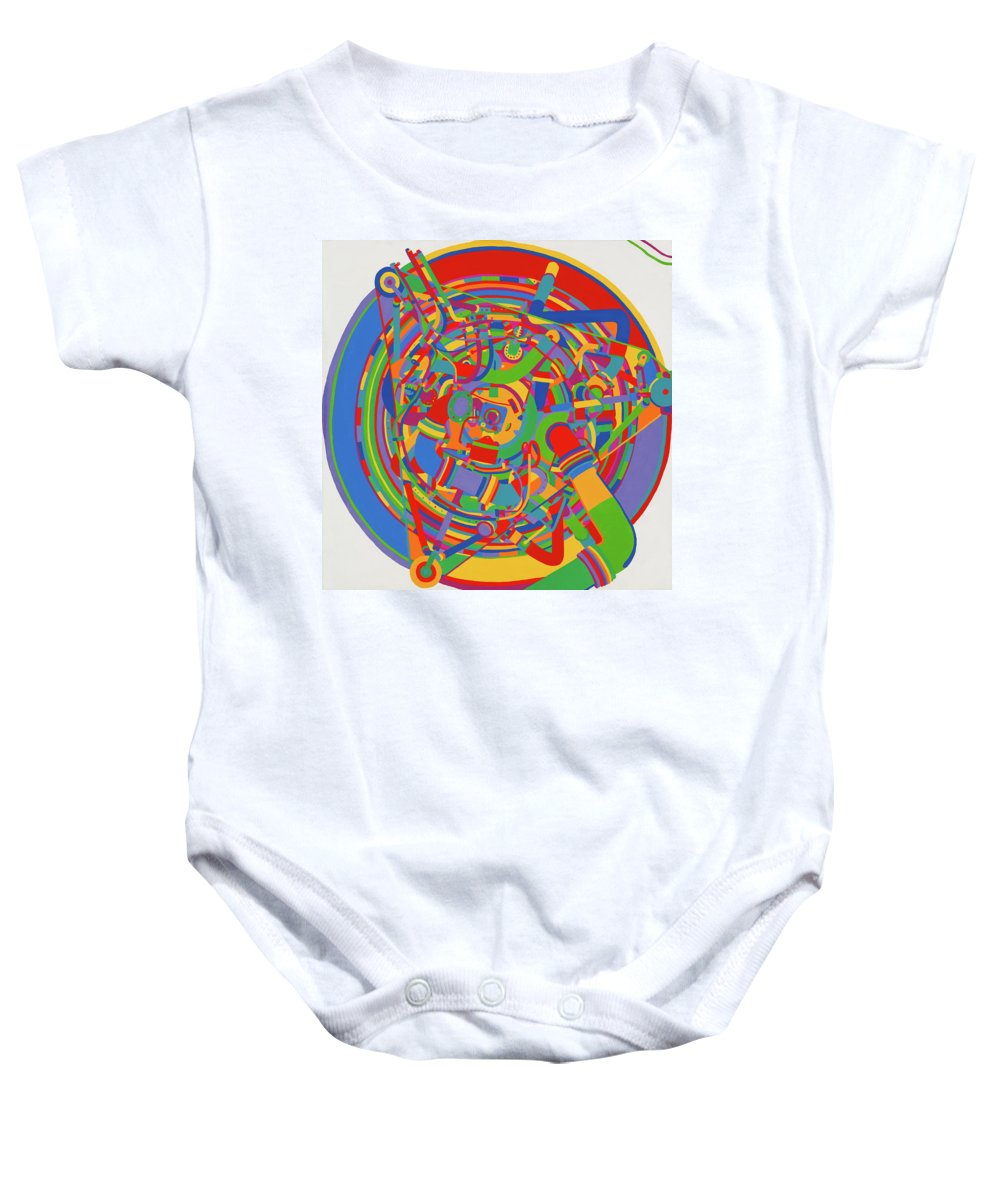 Rocket Baby Onesie featuring the painting Rocket by Janet Hansen