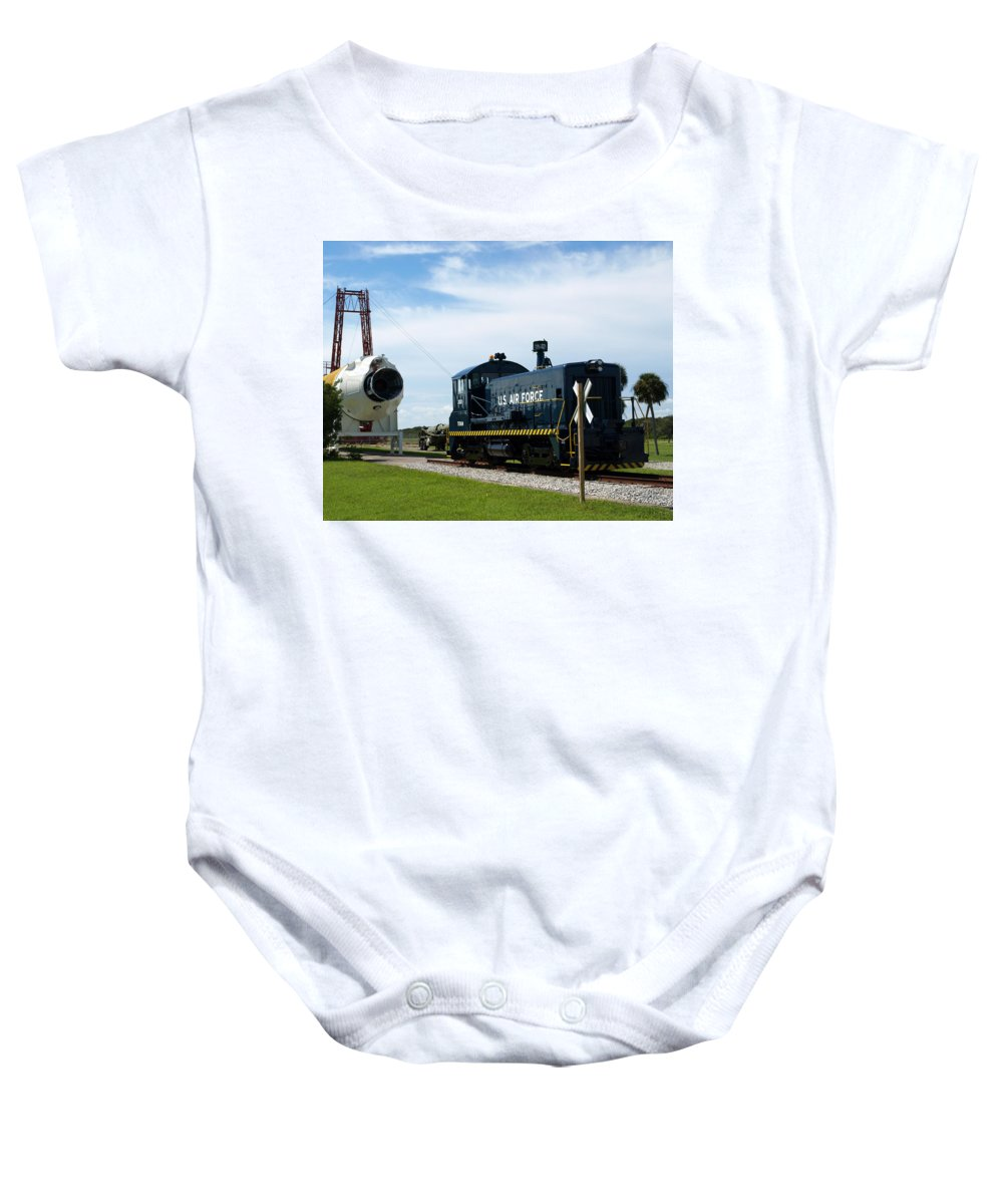 Airforce; Air Force; Air; Force; U.s.; Locomotive; Engine; Rail; Road; Railroad; Railway; Train; Gro Baby Onesie featuring the photograph Rocket Locomotive At Cape Canaveral In Florida by Allan Hughes
