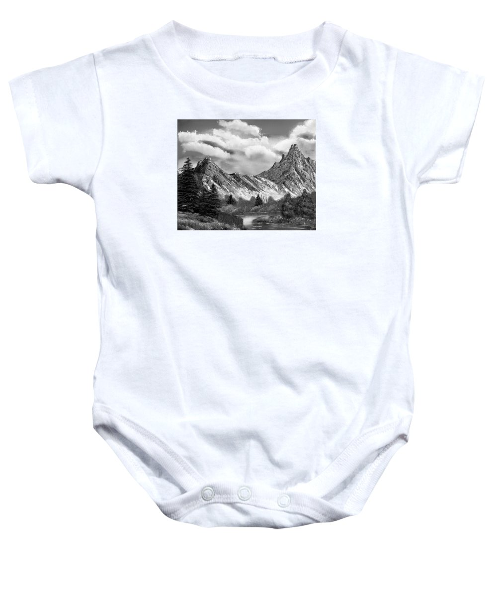 Black And White Baby Onesie featuring the painting Rocky Mountain Tranquil Escape In Black And White by Claude Beaulac