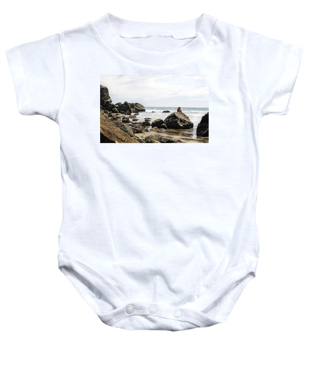 Beach Baby Onesie featuring the photograph Rocky Romance by Donna Blackhall