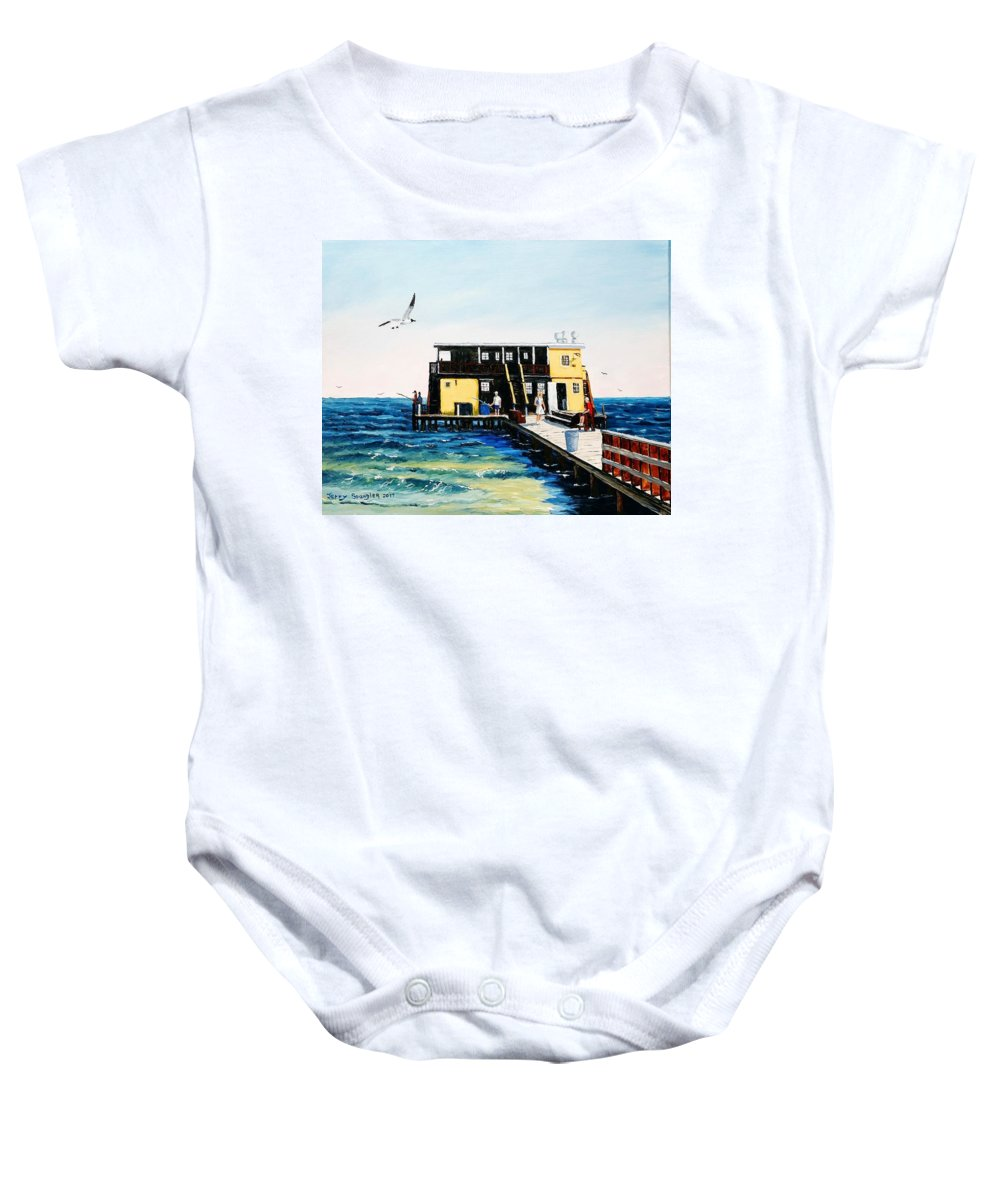 Fishing Pier Baby Onesie featuring the painting Rod And Reel Fishing Pier by Jerry SPANGLER