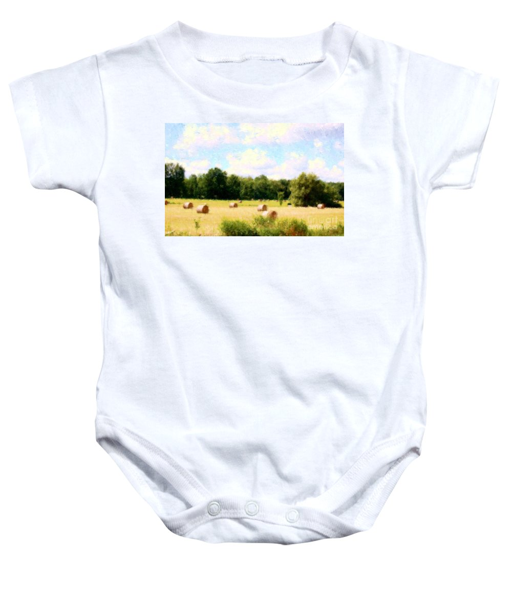 Nature Baby Onesie featuring the photograph Rolling The Hay by David Lane