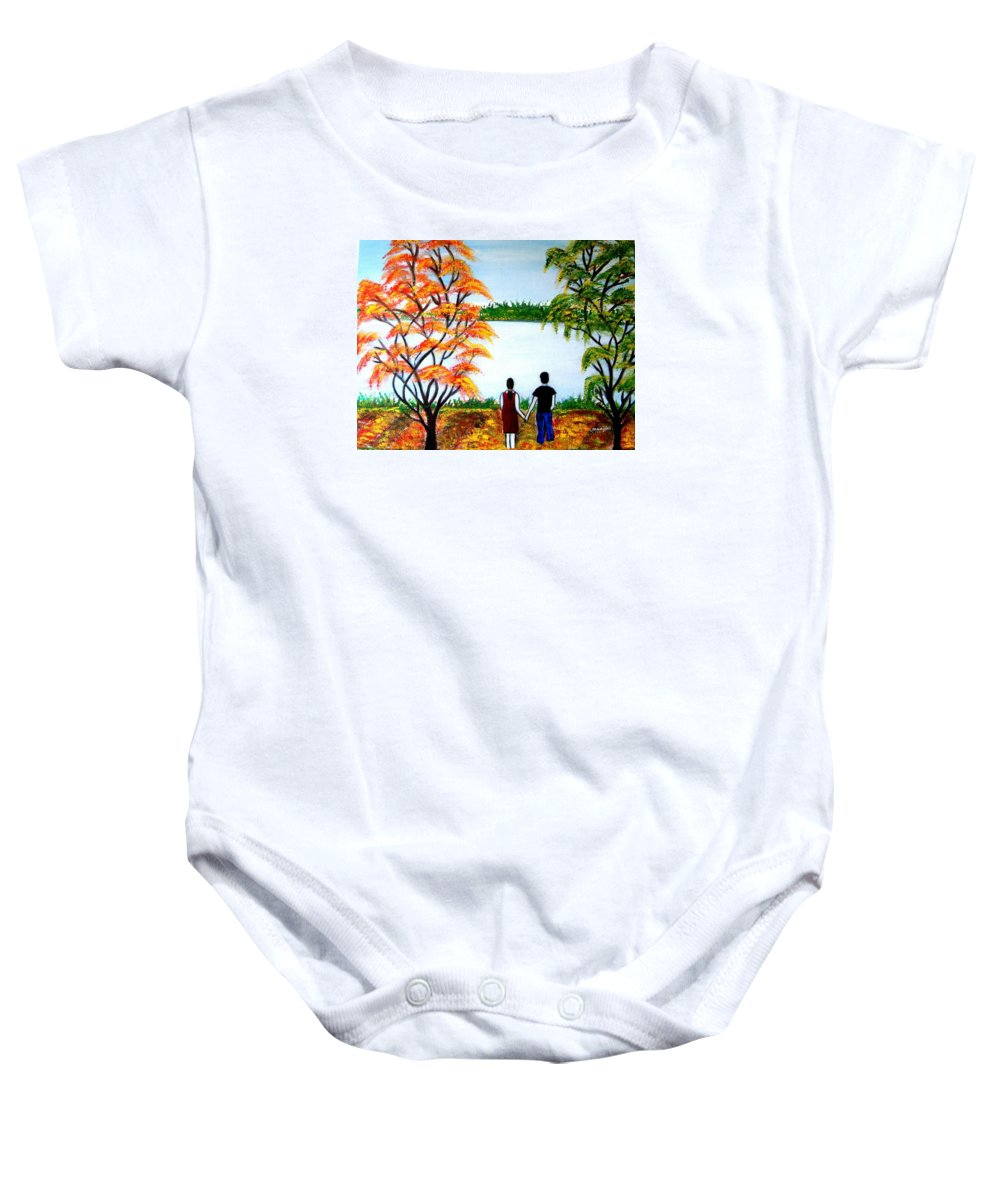 Romance Figures Autumn Orange Trees Green Pop Water Lake Love Valentine Yellow Lake Spring Bloom Baby Onesie featuring the painting Romance In Autumn by Manjiri Kanvinde