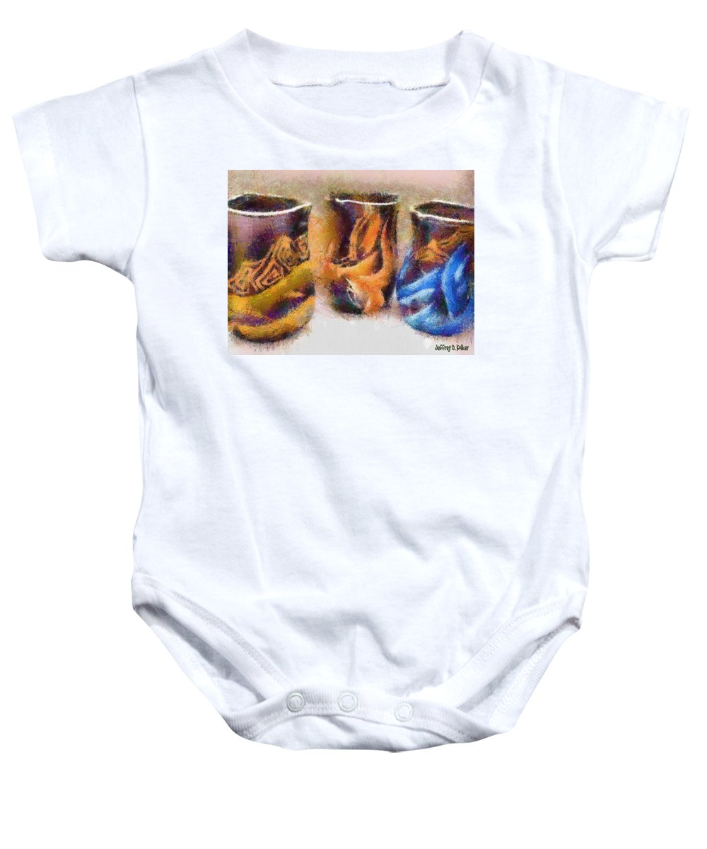 Romania Baby Onesie featuring the painting Romanian Vases by Jeffrey Kolker