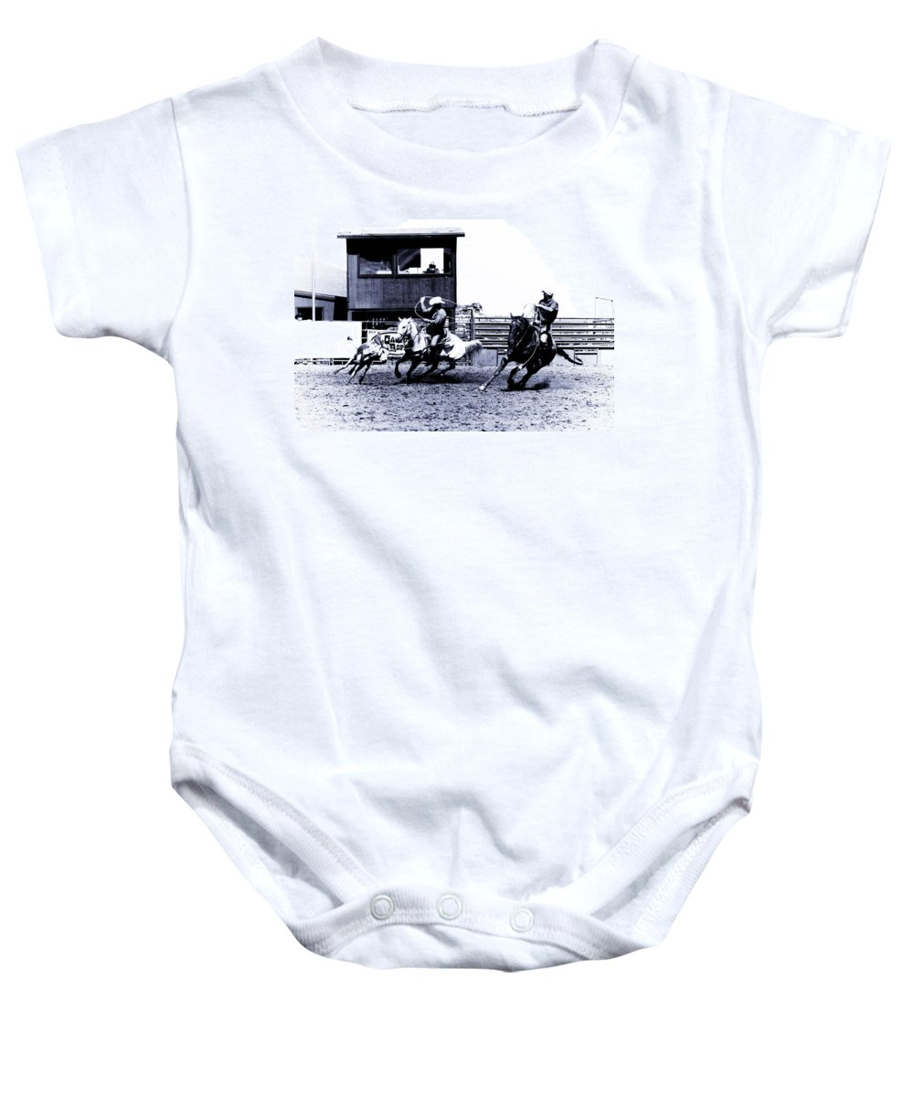 Rodeo Baby Onesie featuring the photograph Roping 1 by Scott Sawyer