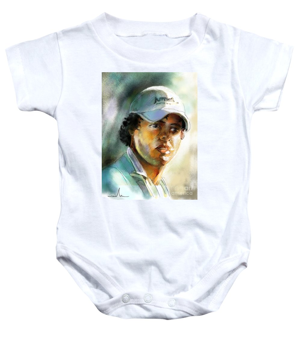 Portrait Painting Golfer Golfart Rory Mcilroy Pga Tour Baby Onesie featuring the painting Rory Mcilroy by Miki De Goodaboom