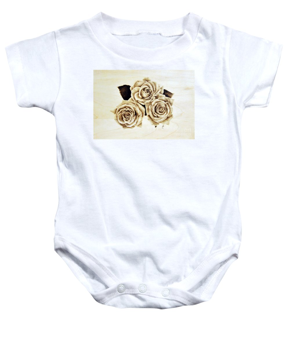 Pyrography Baby Onesie featuring the pyrography Roses by Ilaria Andreucci