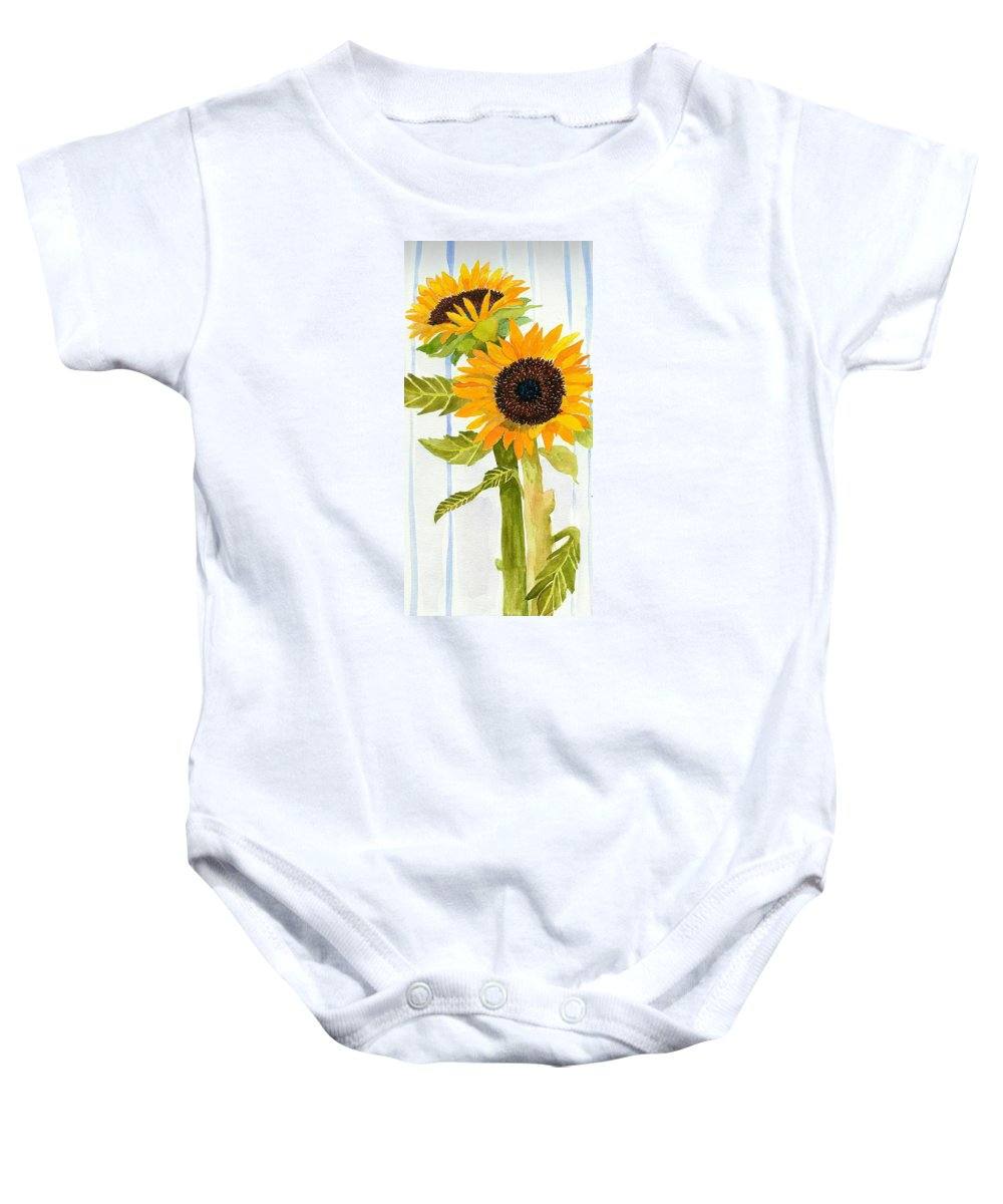 Sunflower Baby Onesie featuring the painting Rosezella's Sunflowers II by Anne Marie Brown