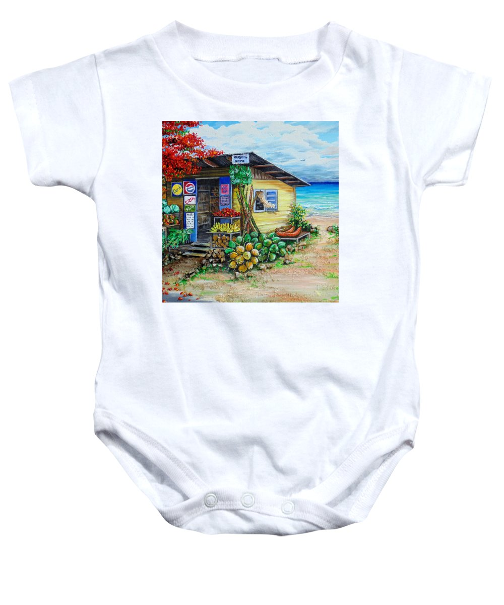 Beach Cafe Baby Onesie featuring the painting Rosies Beach Cafe by Karin Dawn Kelshall- Best