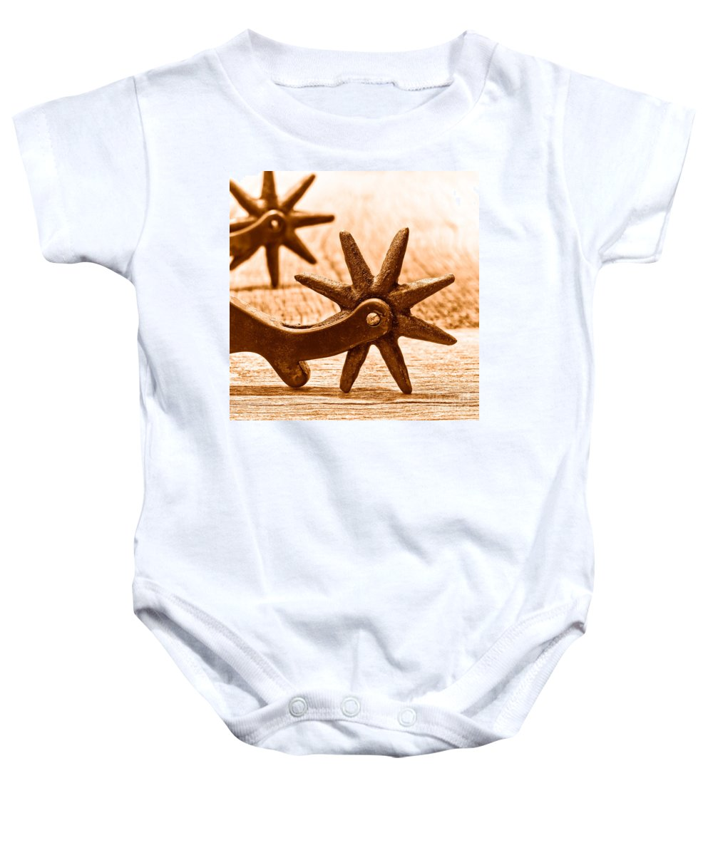 Spurs Baby Onesie featuring the photograph Rough Spurs - Sepia by Olivier Le Queinec